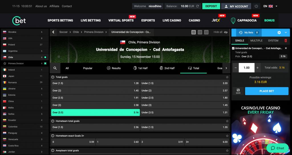 Premier pari sur un match au Chili